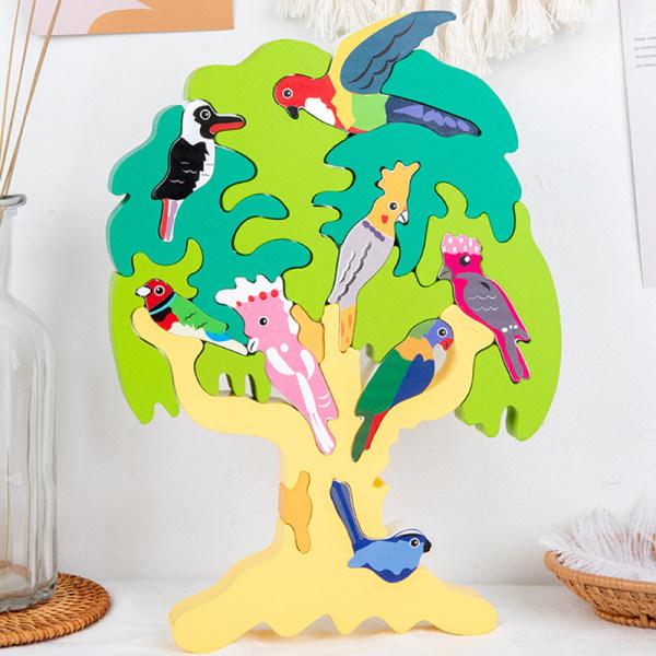 Nytt trä 3D fågel träd pussel barn barn tidigt lärande