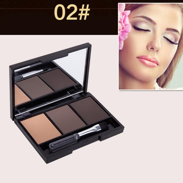 professionellt 3-färgat ögonbrynspulverpaket med varaktigt sminkögonbryn