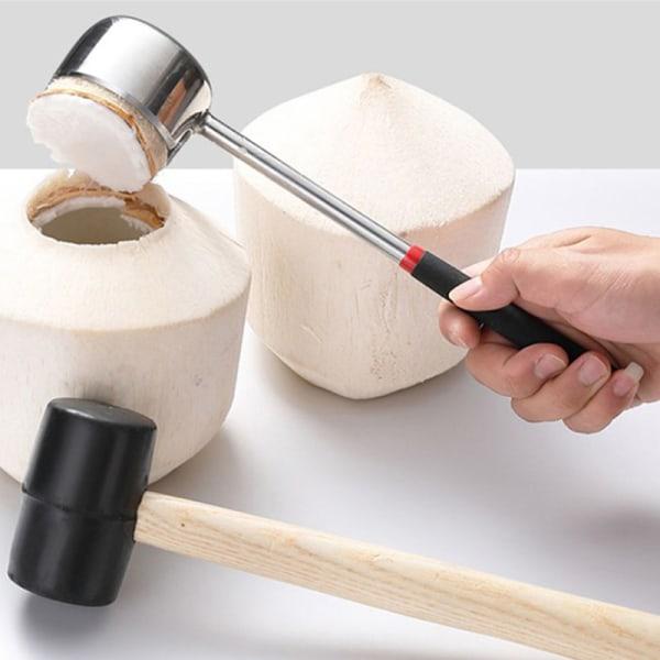 rostfritt stålöppnare kokosnöt köttverktyg trähandtag gummi ha A