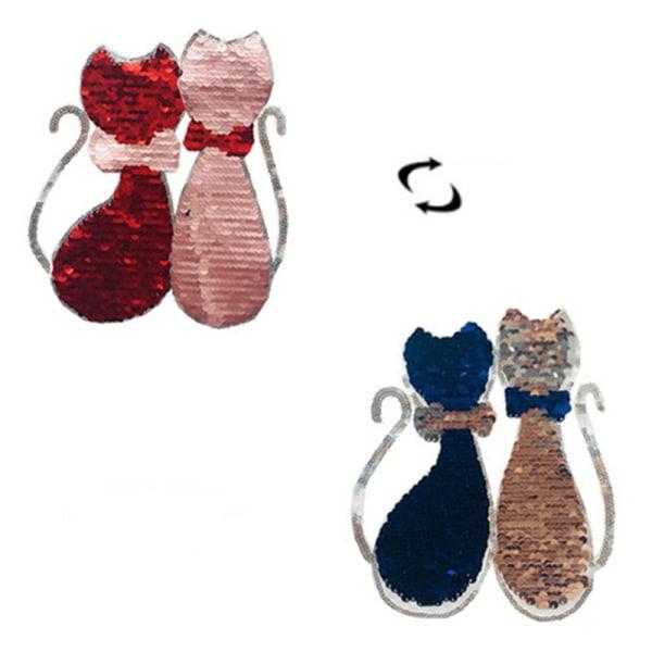 Paljetter Lover Cat Patches på T-shirt Plagg Paljetterad applikation