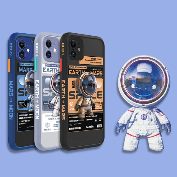 söt tecknad 3d rymd astronaut fodral för iPhone 11 12 pro max xr Gray B