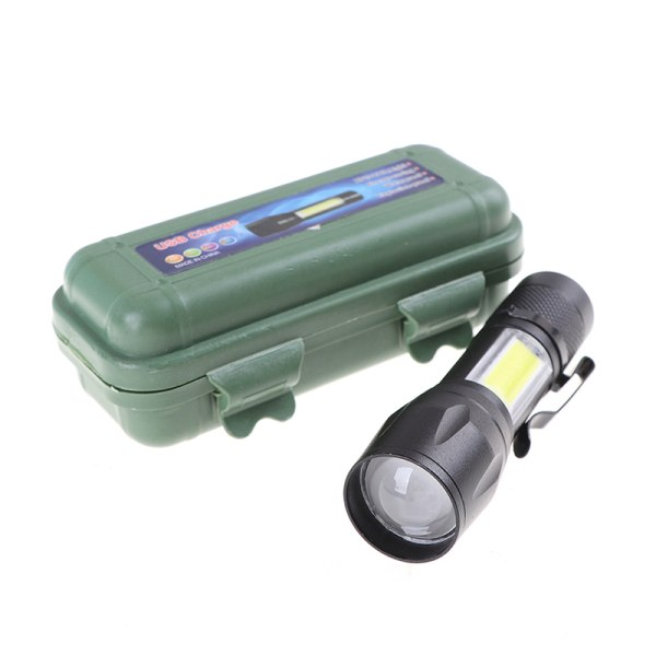uppladdningsbar usb led ficklampa vattentät camping lykta zoomab