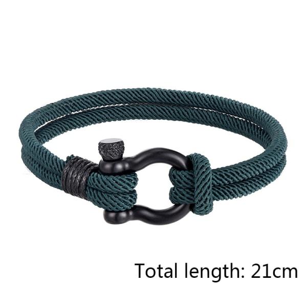 utomhus lucky survival armband charm rostfritt stål spänne fri Green L