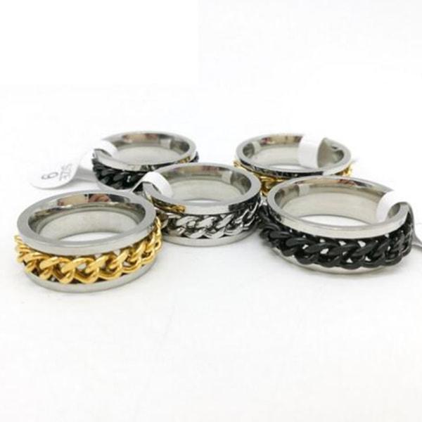 Kvinnor Mens stål roterbart kedjeband Ring Finger Spinner Ring