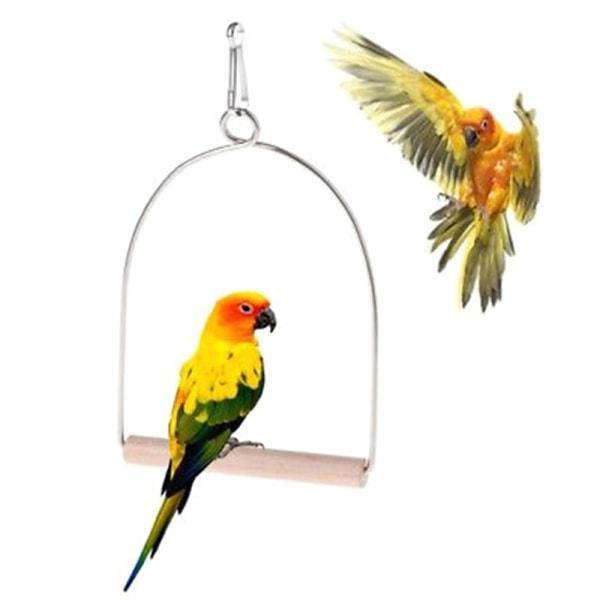 Trä Natural Birds Abborre Papegojor Hängande Swing Cage Leksaker Stan