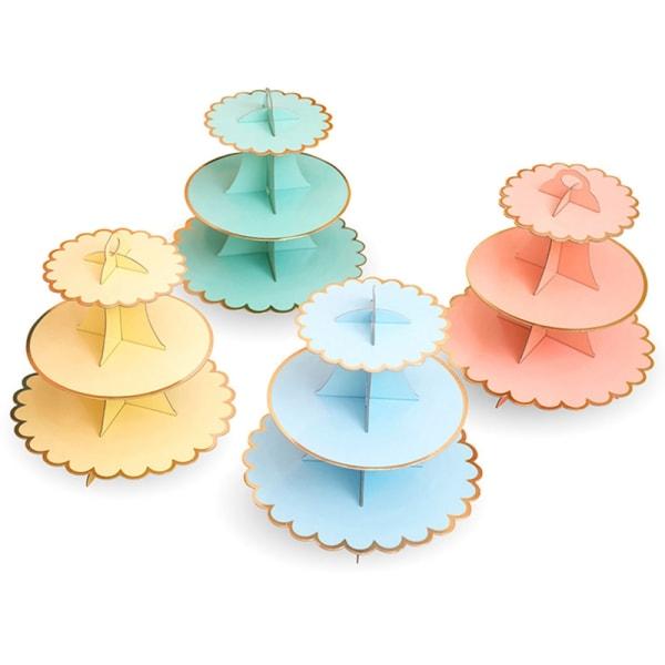 4st Engångsrunda Display Dessertstativ Tjockare Cupcake Hållare flerfärgad