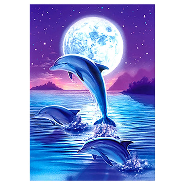 Dolphin Diamond målningssatser, hemväggsdekor, 30x40 cm blå