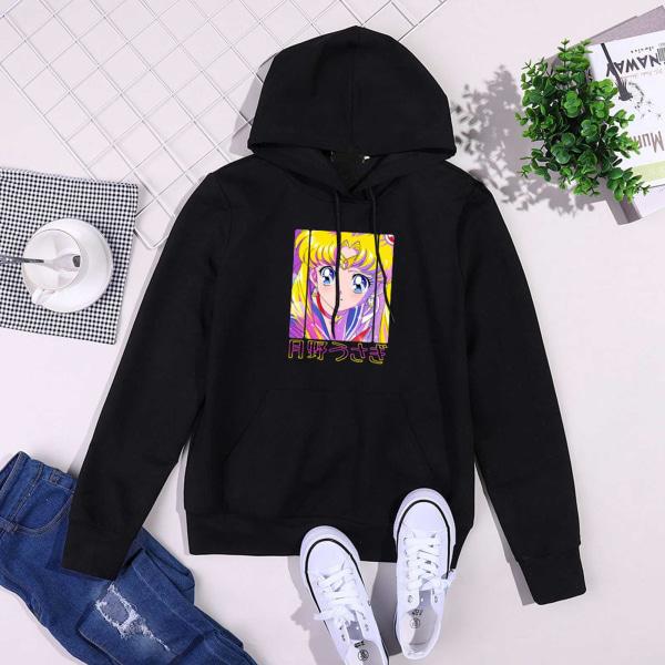 Sailor Moon söt hoodie för damer black S