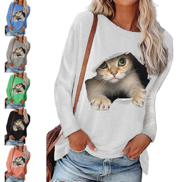 Kvinnor Kattmönster Scoop Neck Lösa Toppar Lång T-Shirtblus Grå 4XL