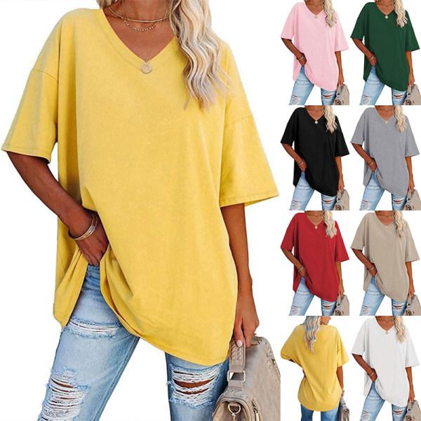 Kvinnors Enfärgade V-Halsar, Halvärmade Toppar Casual T-Shirt Gul XL