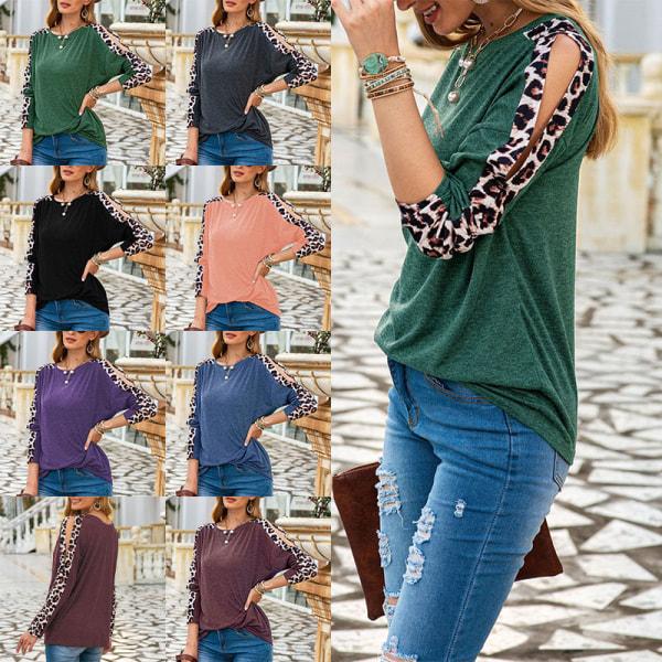 Kvinnors Leopardmönstrad T-Shirt Med Rund Hals Och Tröja Grå S