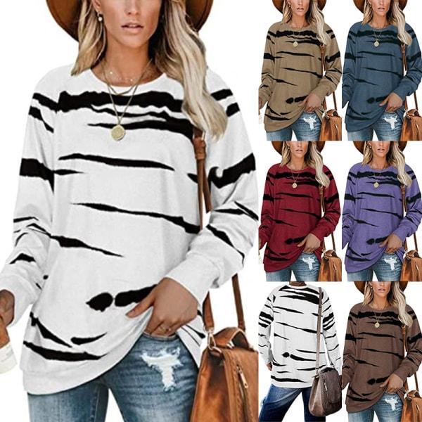 Kvinnor Zebra Print Scoop Neck Casual Långärmad Lös T-Shirt Kaki L