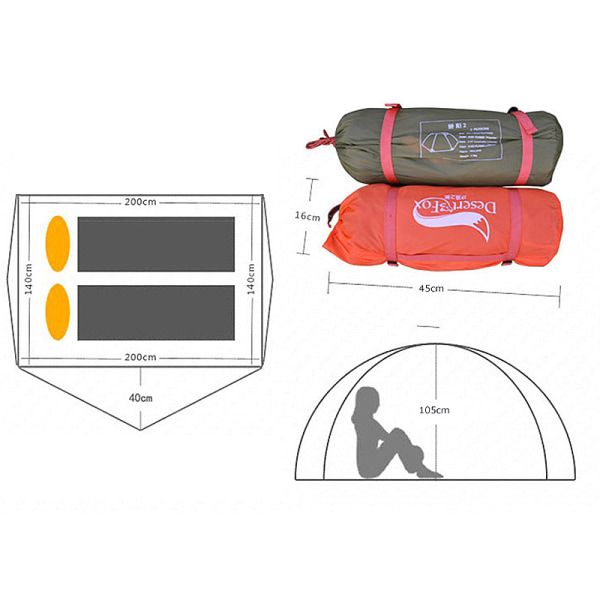 Vattentät 2 Person Camping Tält Dubbel lager Andas Orange