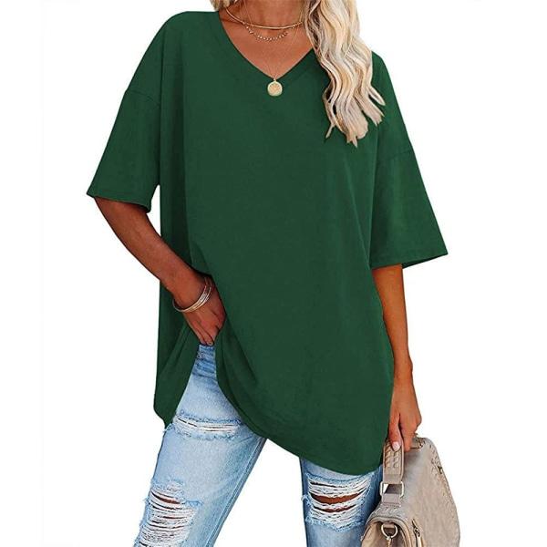 Kvinnors Enfärgade V-Halsar, Halvärmade Toppar Casual T-Shirt Grön L