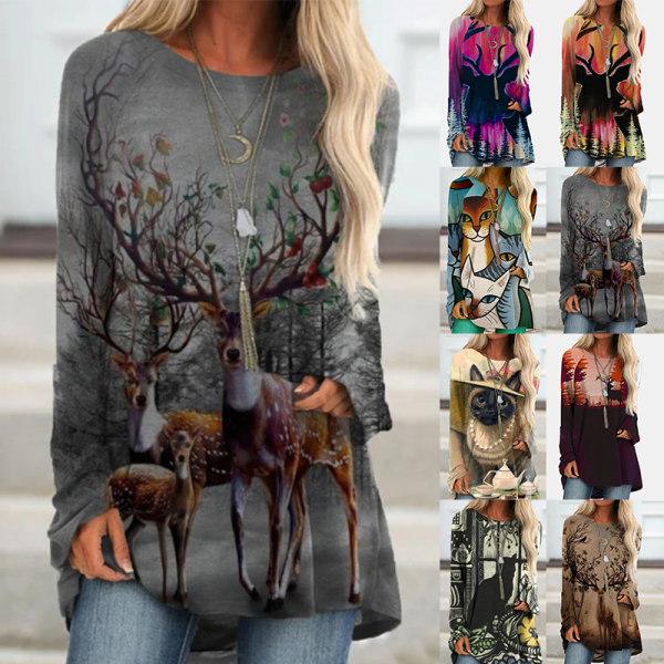 Kvinnor Crew Neck Långärmad Deer Cat Print Tops Shirt Tee Blå katt 3XL