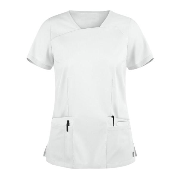Medicinsk Omvårdnad Kvinnor Scrub Top Sjuksköterska Kortärmad Vit S