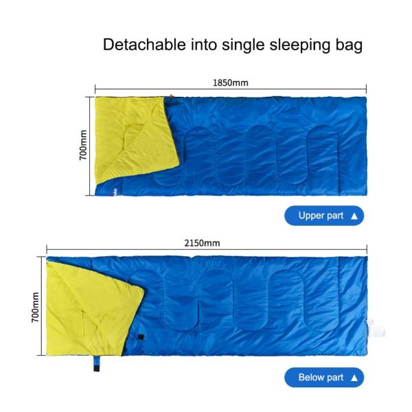 Dubbel sovsäck 2 personer + 2x kudde utomhus lägervandring Blå