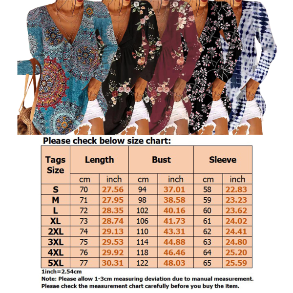 Lady Blommig Tryckknapp V -Ringad Långärmad Löst T -Shirt Marinblå L