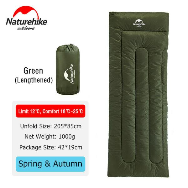 Camping sovsäck Vandring kuvert Ultralätt vattentätt Grön Förlängd
