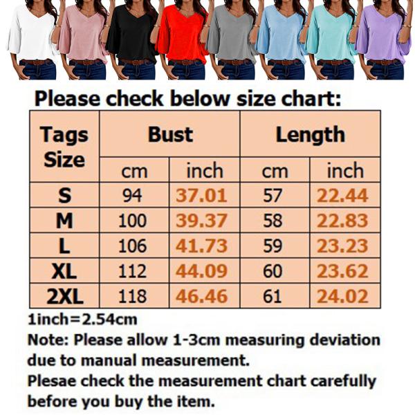 Kvinnor Enfärgad V-Hals Fritidsöverdelar T-Shirt Pulloverblus Ljusblå XL