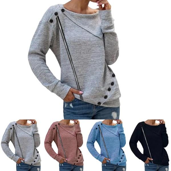 Kvinnor Långärmad Solid Button Decor Tops Tops Shirt Tunic Tee Blå L