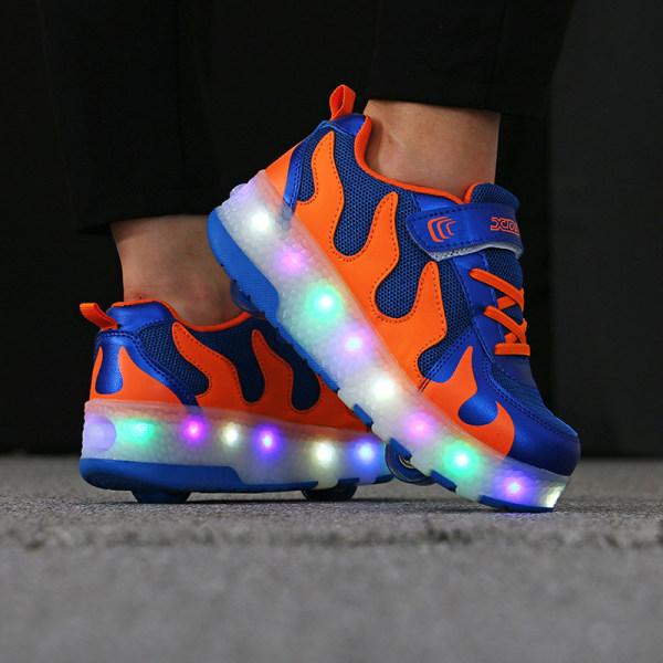Barnmode Sneakers Tvåhjuliga modeskridskor Unisex B74 Blå Orange 39