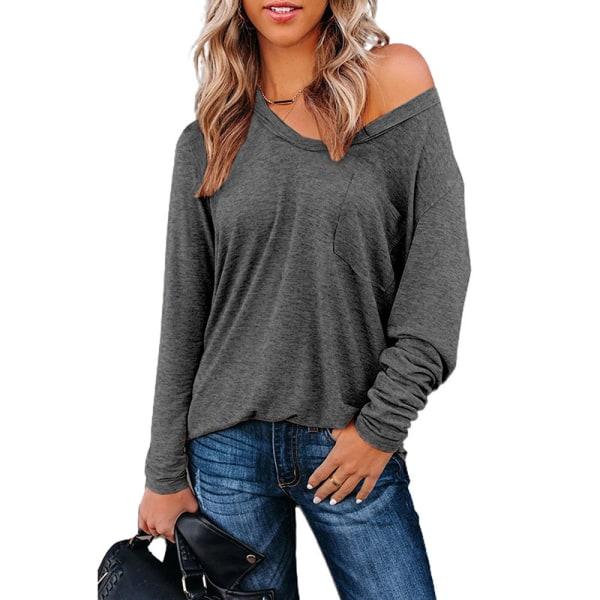 Kvinnors Enfärgade V-Toppar Hudvänlig Långärmad T-Shirt Grå S