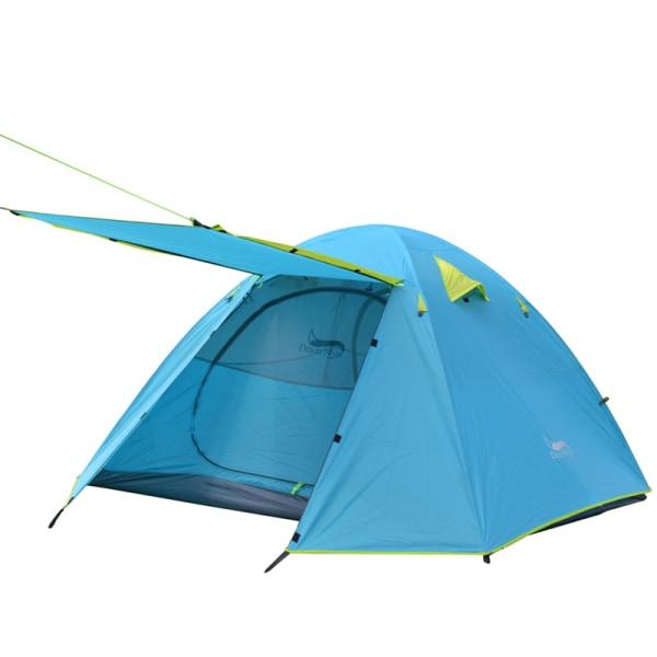 4 personers campingtält Ultralätt dubbellagers familjesäckresa Blå