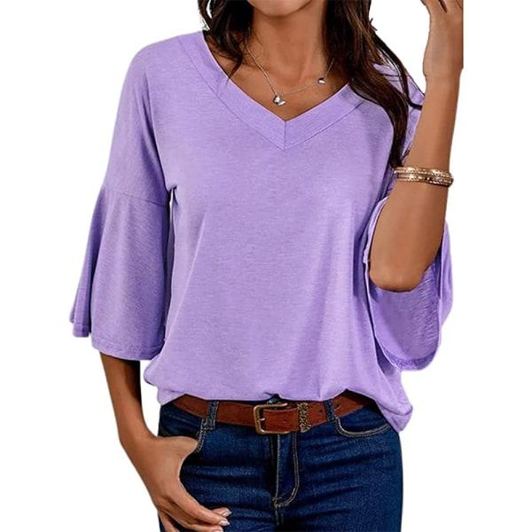 Kvinnor Enfärgad V-Hals Fritidsöverdelar T-Shirt Pulloverblus Lila S