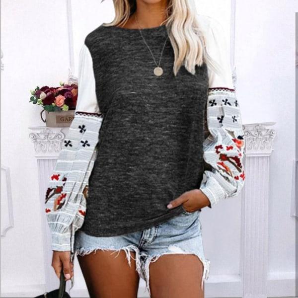 Kvinnor Crew Neck Långärmad T-Shirt Med Blommigt Tryck Puffärm Mörkgrå XL