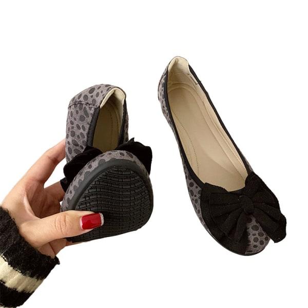 Dam enkla skor båge knut rund tå skor enfärgade skor Grå 36