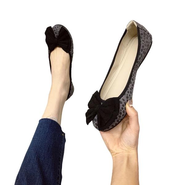Dam enkla skor båge knut rund tå skor enfärgade skor Grå 35