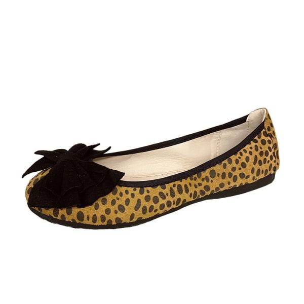 Dam enkla skor båge knut rund tå skor enfärgade skor Gul 37