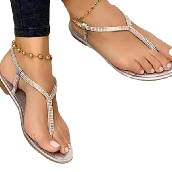 Dam Sandaler Flip Flops Rhinestone Open Toe Shoes Enfärgad Silver- 38