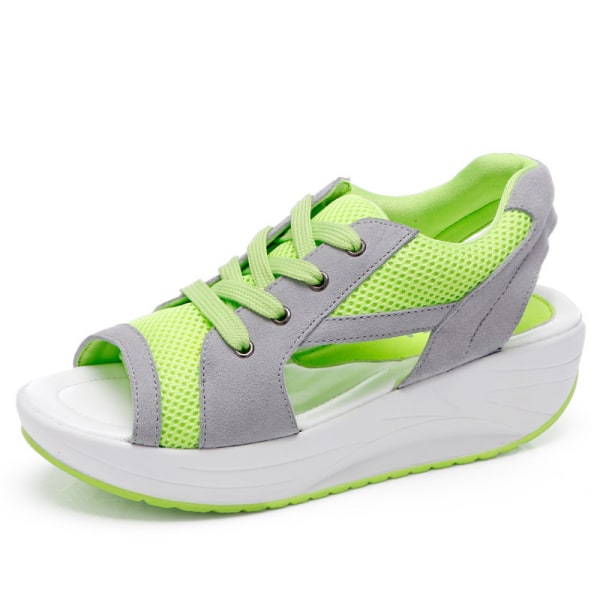 Dam Sandaler Mode Sneakers Plattform Håla skor med öppna tå Grön 35