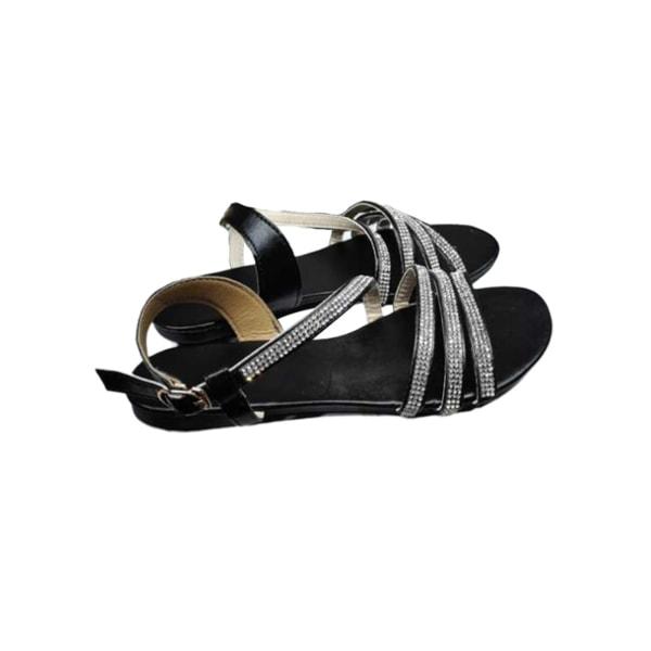 Dam strass sandaler tunn tunn rem ihåliga platta casual skor Svart 38