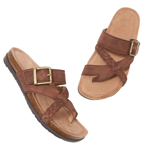 Dam tofflor sommar sandaler bekväma och coola platta skor Brun 40