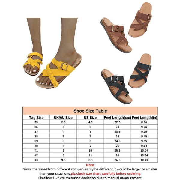 Dam tofflor sommar sandaler bekväma och coola platta skor Svart 39