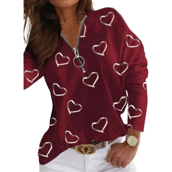 T -Shirt Med Dragkedja För Kvinnor, Lös Ledig Långärmad Topp Vin, Röd M