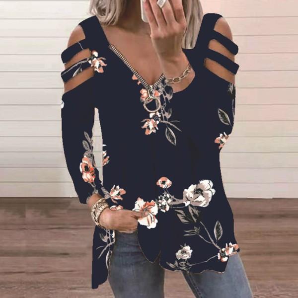 Kvinnor V-Hals Toppar Sommar Lång Ihålig T-Shirt Svart XL