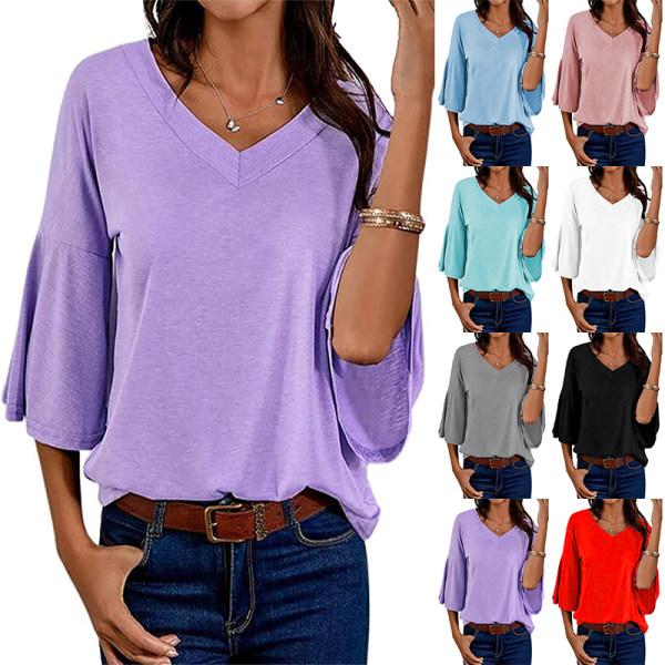 Kvinnor Enfärgad V-Hals Fritidsöverdelar T-Shirt Pulloverblus Röd M