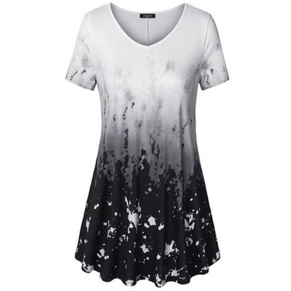 Dam Tie Dye Kortärmad Rundhalsad Toppar Casual T-Shirt Svart L
