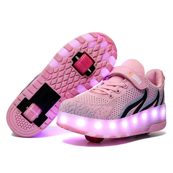 Flickor Pojkemode Tvåhjuliga sneakers LED-lampor Skridskor Gåvor B203 Rosa 37
