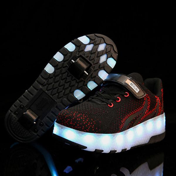 Flickor Pojkemode Tvåhjuliga sneakers LED-lampor Skridskor Gåvor B203 Svart 31