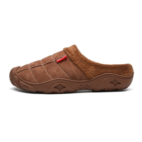 Herrmode tofflor plysch varma halkfria skor inomhus mulor Brun 43