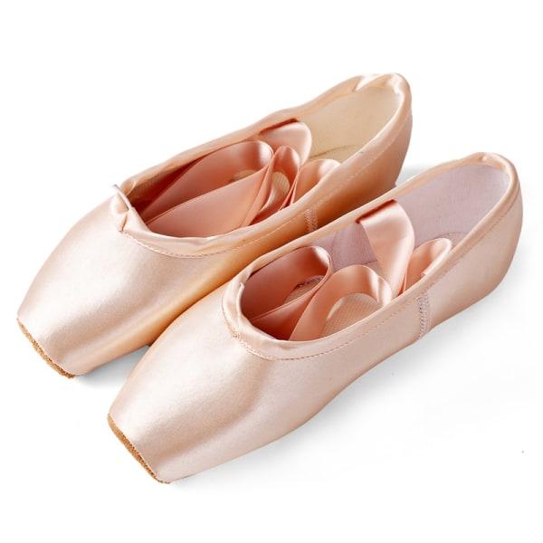 Klassiska balettskor för tjejer och vuxna med fyrkantiga tåband Satinrosa 30