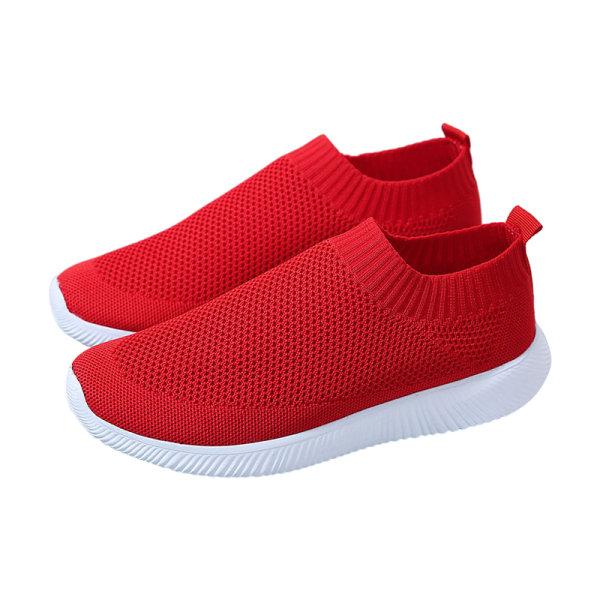 Kvinnor sneakers enfärgade strumpor skor mjuka arbetsskor Röd 38
