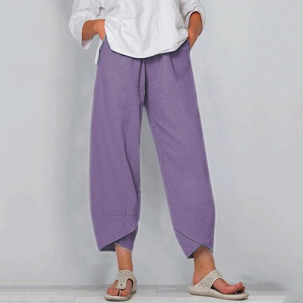 Kvinnor Sommar Mode Resår I Midjan Sidofickor Avslappnade Byxor Lila M