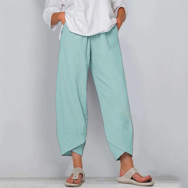 Kvinnor Sommar Mode Resår I Midjan Sidofickor Avslappnade Byxor Ljusgrön XL