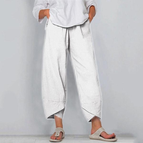 Kvinnor Sommar Mode Resår I Midjan Sidofickor Avslappnade Byxor Vit XL